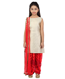 K&U Sleeveless Salwar Kameez With Dupatta - Red And Off wite