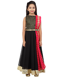 K&U Sleeveless Embroidered Anarkali With Dupatta - Black and Pink
