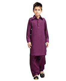 K&U Full Sleeves Pathani Suit - Purple