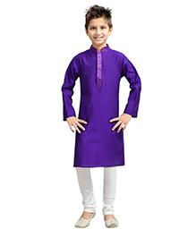 K&U Full Sleeves Kurta Pyjama - Purple and White