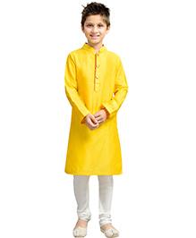 K&U Full Sleeves Kurta Pyjama - Yellow and White