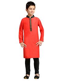 K&U Full Sleeves Kurta Pyjama - Red and Black