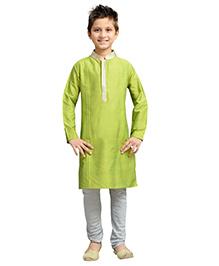 K&U Full Sleeves Kurta Pyjama - Green and Grey