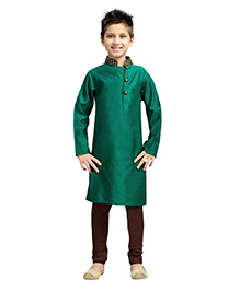 K&U Full Sleeves Kurta Pyjama - Green and Brown