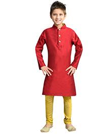 K&U Full Sleeves Kurta Pyjama - Red and Yellow