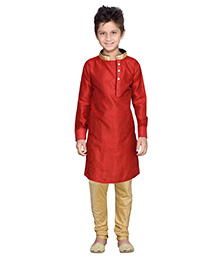 K&U Full Sleeves Kurta Pyjama - Red and Golden