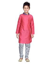 K&U Full Sleeves Kurta Pyjama - Pink and Grey