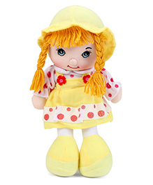 Candy Doll With Floral And Dot Print Dress And Hat Yellow - Height 32 Cm