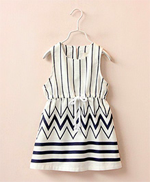 Dress My Angel Just Me Dress - Dark Blue & White