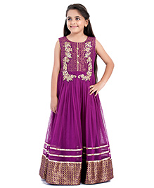 Betty By Tiny Kingdom Embroidered Evening Gown - Purple