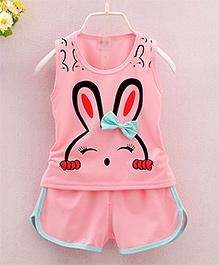 Pre Order : Dells World Bunny Print Top & Shorts - Pink