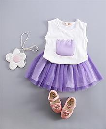 Pre Order : Dells World Pearl Beaded Top & Skirt - White & Purple