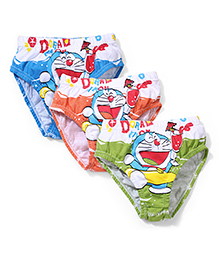 Doraemon Printed Briefs Blue Orange And Green - Set Of 3