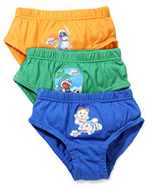 Doraemon Printed Briefs Set Of 3 - Yellow Green Blue