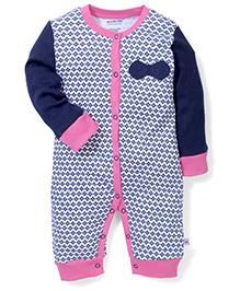 Wonderchild Full Sleeves Printed Romper - Pink & Navy