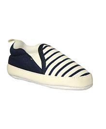 Kiwi Slip-On Stripe Booties - White Blue