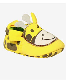 Kiwi Slip On Booties Giraffe Face - Yellow