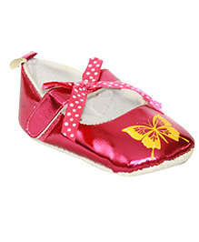 Kiwi Booties Bow Applique Butterfly Print - Pink