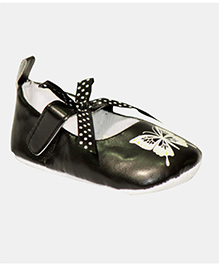 Kiwi Booties Bow Applique Butterfly Print - Black