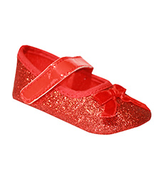 Kiwi Booties Bow Applique - Red