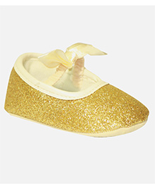 Kiwi Booties Bow Applique - Golden
