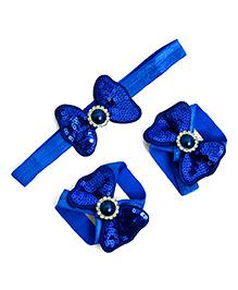 Little Miss Cuttie Headband & Barefoot Sandals Set - Blue