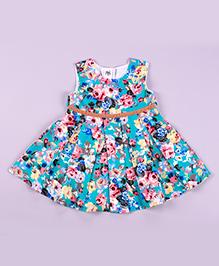 Petite Kids Claudia Flowers Dress - Coral Green