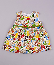Petite Kids Twill Little World Of Animals Dress - Multicolour