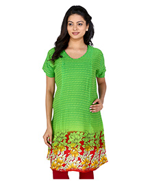 MomToBe Half Sleeves Maternity Kurti Floral Print - Light Green