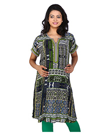 MomToBe Half Sleeves Maternity Kurti Abstract Print - Blue Green