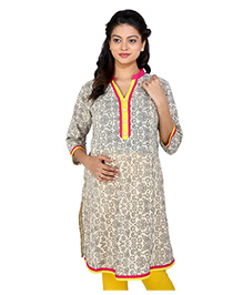 MomToBe Three Fourth Sleeves Maternity Kurti Abstract Print - White And Pink
