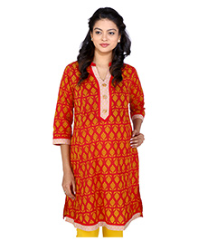 MomToBe Three Fourth Sleeves Maternity Kurti Abstract Print - Red And Yellow