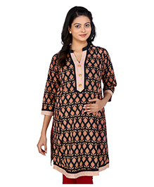 MomToBe Three Fourth Sleeves Maternity Kurti Abstract Print - Black And Cream