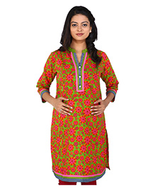 MomToBe Three Fourth Sleeves Maternity Kurti Floral Print - Green Pink