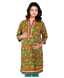 MomToBe Three Fourth Sleeves Maternity Kurti Floral Print - Yellow Red