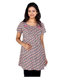 MomToBe Half Sleeves Maternity Top Floral Print - Pink