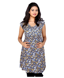 MomToBe Short Sleeves Maternity Top Multi Print - Blue