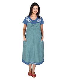 MomToBe Short Sleeves Maternity Dress Checks Print - Blue