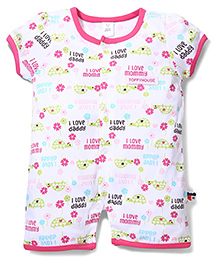 ToffyHouse Short Sleeves Multi Print Rompers - White & Pink