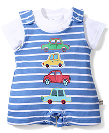 ToffyHouse Striped Dungaree Style Romper With T-Shirt Car Print & Patch - Blue & White