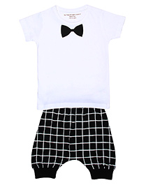Brown Boy Bow Print Tee & Joggers Set - White & Black