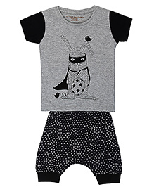 Brown Boy Mini Superhero Tee & Joggers Set - Grey & Black