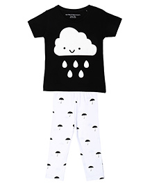 Brown Boy Mini Cute Cloud Printed Tee & Pant Set - White & Black