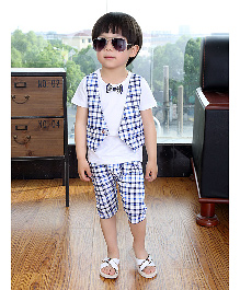 Teddy Guppies Classy Jacket Style Half Sleeves T-Shirt And Shorts With Bow - White Blue