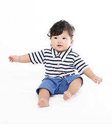 Teddy Guppies Half Sleeves Stripe Romper - Blue White