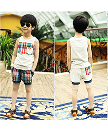 Teddy Guppies Sleeveless T-Shirt And Check Shorts - Off White