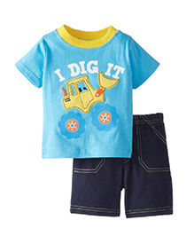 Teddy Guppies Half Sleeves T-Shirt and Shorts Vehicle Patch - Blue Navy