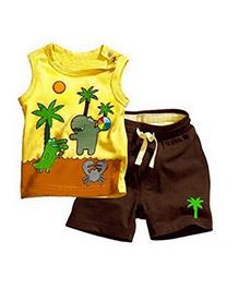 Teddy Guppies Sleeveless T-Shirt And Shorts Beach Print - Yellow Brown