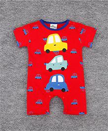 Teddy Guppies Half Sleeves Romper Cute Cars Print - Red