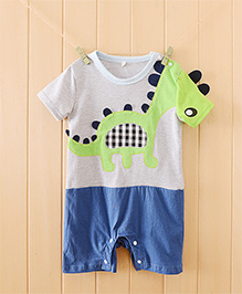 Teddy Guppies Half Sleeves Romper Dino Embroidery - Green White Blue